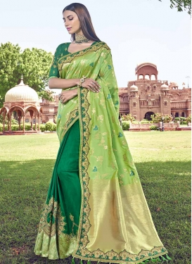 Green and Mint Green Banarasi Silk Half N Half Designer Saree