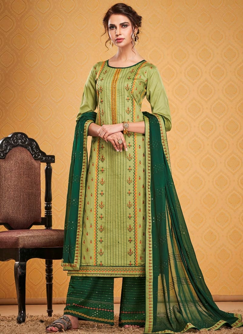 Green and Mint Green Palazzo Style Pakistani Salwar Kameez For Ceremonial