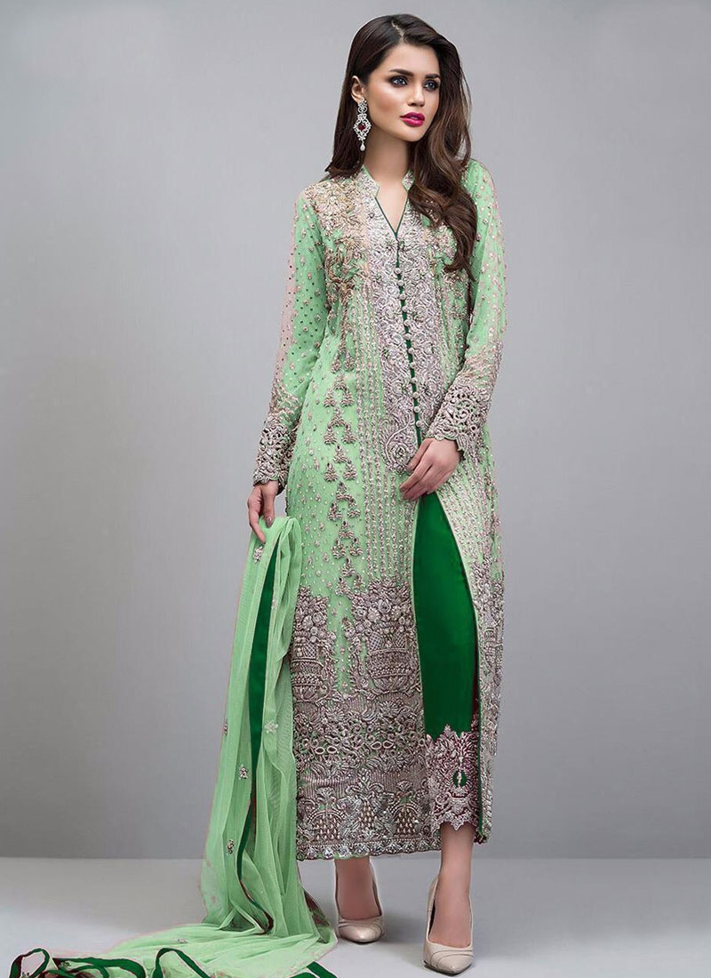 Green and Mint Green Pant Style Designer Suit