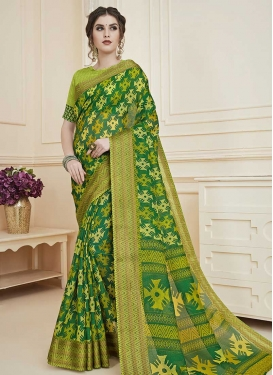 Green and Mint Green Print Work Traditional Designer Saree