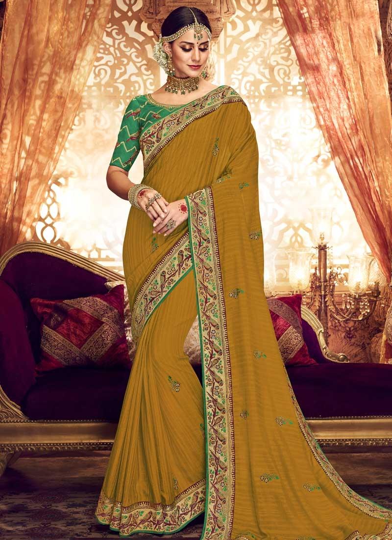 Green and Mustard Art Silk Traditional Designer Saree
