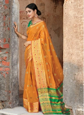 Green and Mustard Cotton Silk Trendy Classic Saree