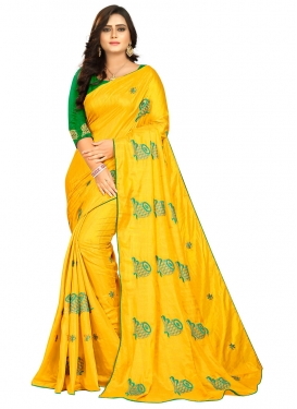 Green and Mustard Designer Contemporary Saree
