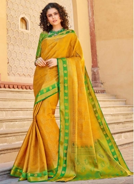 Green and Mustard Designer Contemporary Style Saree For Ceremonial