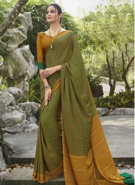 Green and Mustard Digital Print Work Trendy Classic Saree