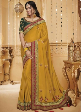 Green and Mustard Embroidered Work Traditional Saree
