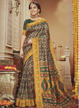 Green and Mustard Geometric Print Work Designer Traditional Saree