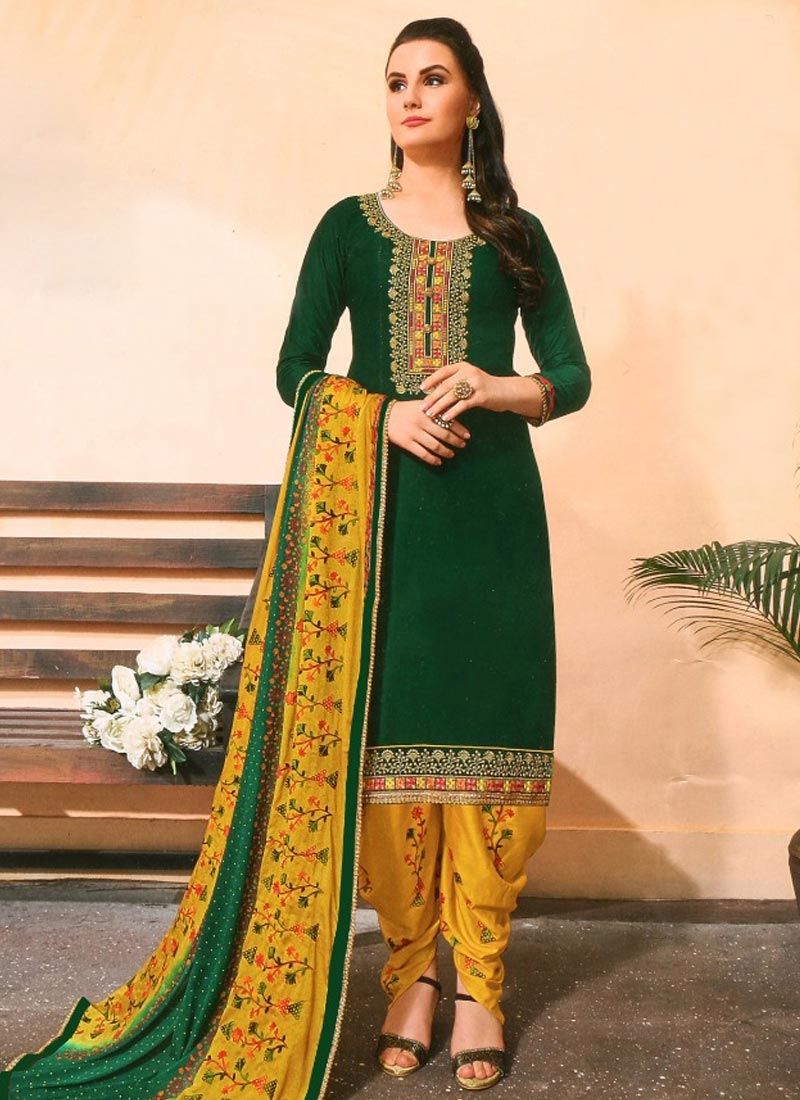 Green and Mustard Trendy Patiala Salwar Suit For Casual
