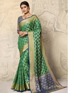 Green and Navy Blue Art Silk Designer Contemporary Style Saree