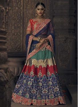Green and Navy Blue Banglori Silk Designer A Line Lehenga Choli