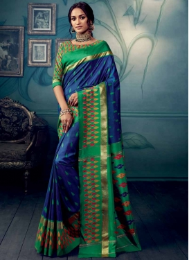 Green and Navy Blue Contemporary Saree