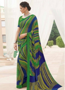 Green and Navy Blue Contemporary Style Saree For Casual