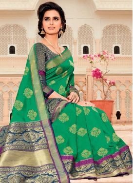 Green and Navy Blue Designer Traditional Saree For Festival