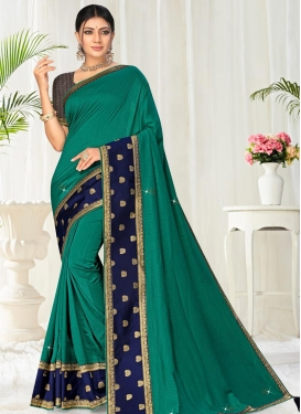 Green and Navy Blue Lace Work Designer Traditional Saree