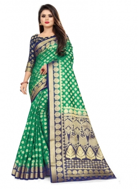 Green and Navy Blue Woven Work Contemporary Style Saree