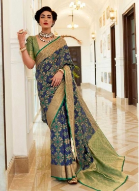 Green and Navy Blue Woven Work Designer Contemporary Style Saree
