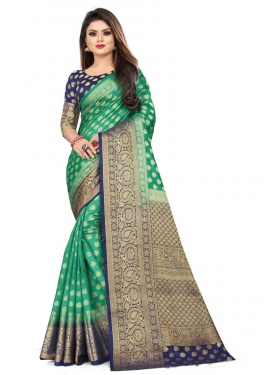 Green and Navy Blue Woven Work Designer Traditional Saree