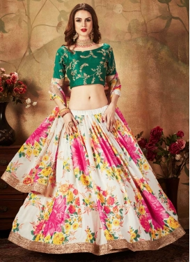 Green and Off White A - Line Lehenga For Party