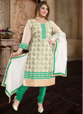 Green and Off White Lace Work Readymade Churidar Suit