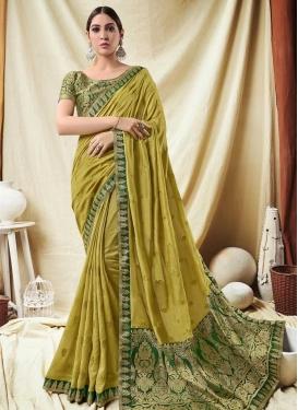 Green and Olive Jacquard Silk Trendy Classic Saree