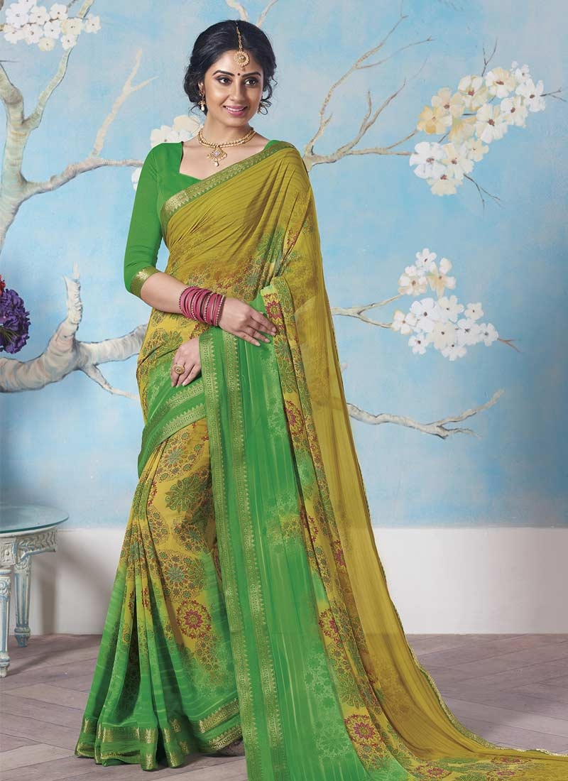 Green and Olive Print Work Classic Saree