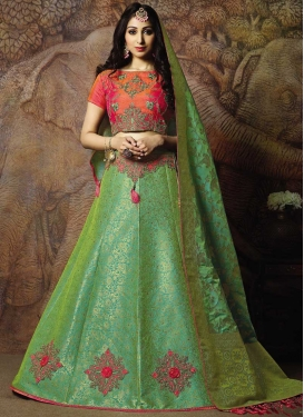 Green and Orange A - Line Lehenga