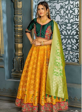 Green and Orange Banarasi Silk Lehenga Choli For Party