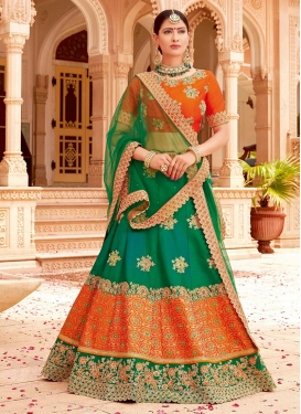 Green and Orange Beads Work Designer Classic Lehenga Choli