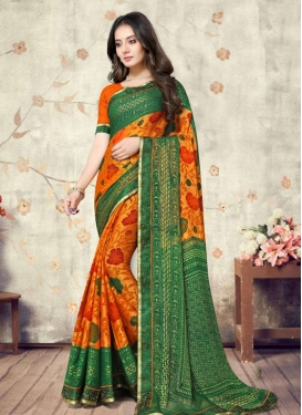 Green and Orange Brasso Designer Contemporary Saree For Casual