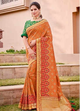 Green and Orange Cord Work Contemporary Style Saree