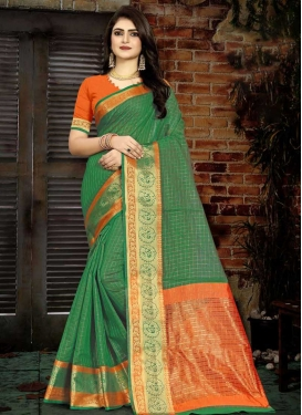 Green and Orange Cotton Silk Designer Contemporary Saree