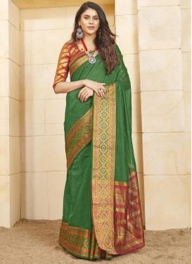 Green and Orange Cotton Silk Designer Contemporary Style Saree For Casual
