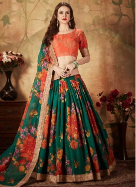 Green and Orange Digital Print Work A Line Lehenga Choli
