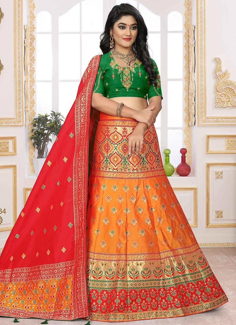 Green and Orange Embroidered Work Jacquard Silk Trendy A Line Lehenga Choli