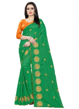 Green and Orange Embroidered Work Traditional Designer Saree