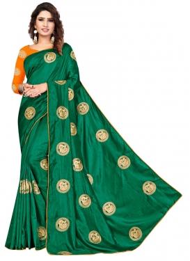 Green and Orange Traditional Designer Saree For Ceremonial