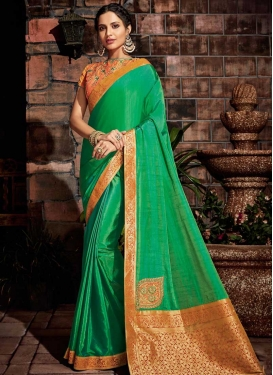 Green and Orange Traditional Saree