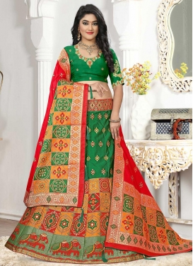 Green and Orange Trendy Lehenga Choli For Ceremonial