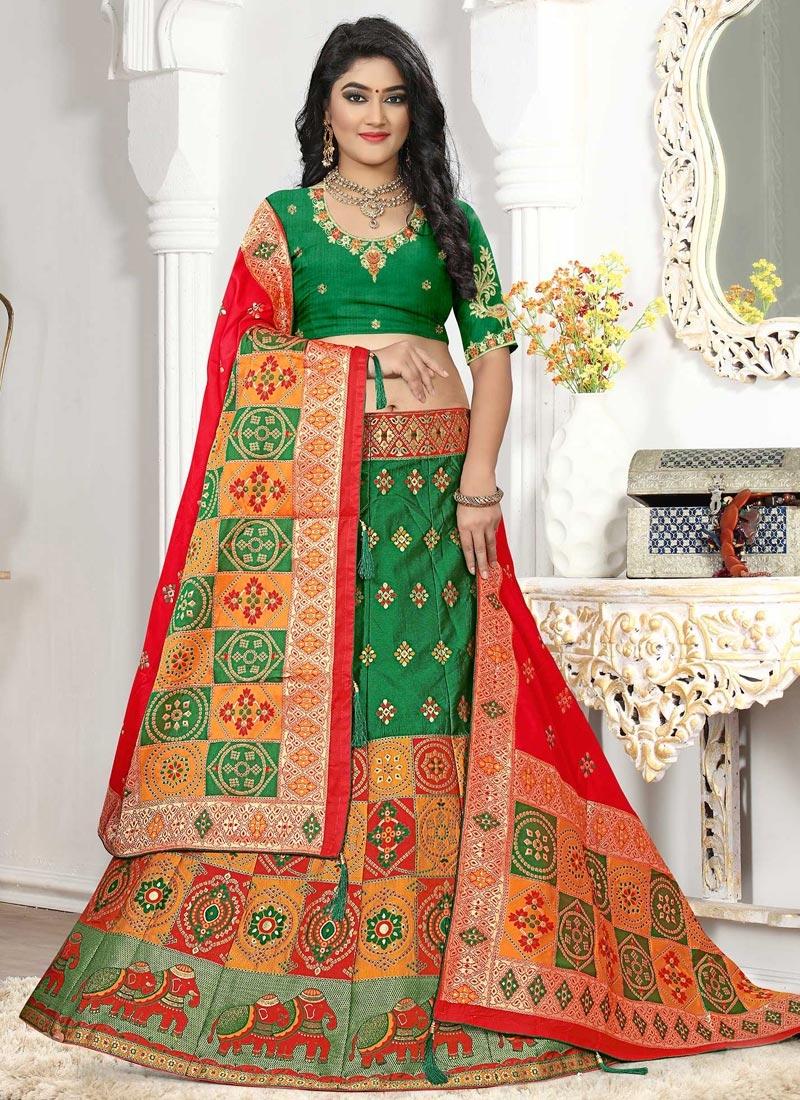 Green and Orange Trendy Lehenga Choli For Ceremonial