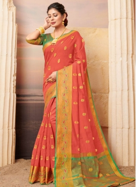 Green and Peach Cotton Designer Traditional Saree