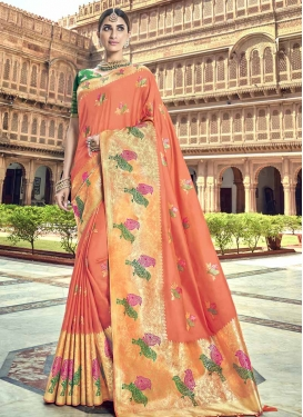 Green and Peach Designer Contemporary Style Saree For Ceremonial