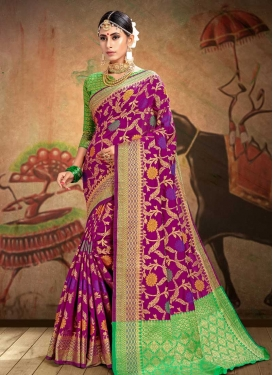 Green and Purple Contemporary Style Saree For Ceremonial