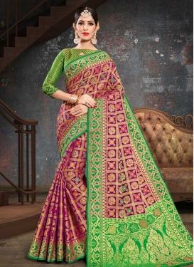 Green and Purple Patola Silk Designer Contemporary Style Saree