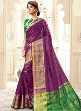 Green and Purple Trendy Saree