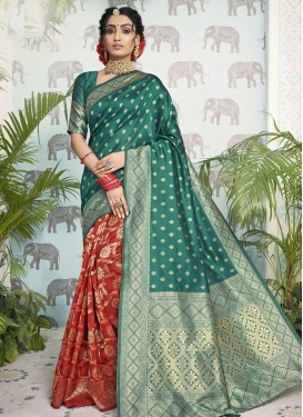 Green and Red Art Silk Designer Contemporary Saree