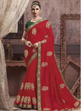Green and Red Art Silk Designer Contemporary Style Saree