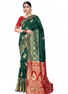 Green and Red Art Silk Traditional Designer Saree