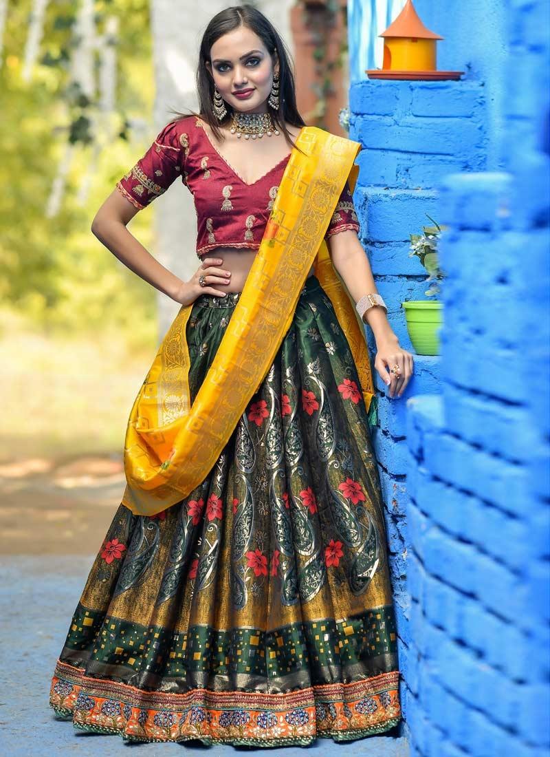Green and Red Banarasi Silk A Line Lehenga Choli