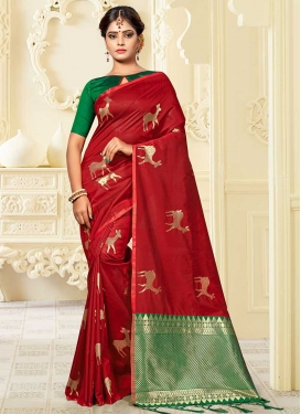 Green and Red Banarasi Silk Designer Contemporary Style Saree