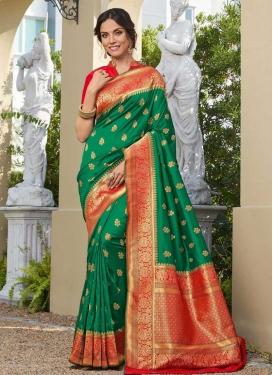 Green and Red Banarasi Silk Designer Traditional Saree